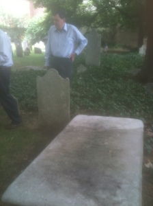 Bill Tegner at the burial site of his 3G Grandfather, James Stuart