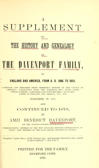 A Supplement to The Davenport Family title pg
