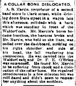 Auburn NY Bulletin Sat 30 Dec 1899 A S Martin Dislocates Collar Bone