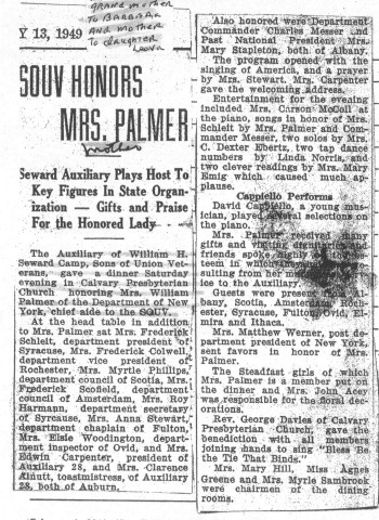 Leona Penird Palmer SOUV honoree 1949