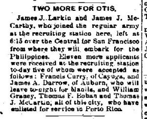 Newspaper Auburn NY Daily Bulletin 1899 Frank Jr enlists and goes to Manila