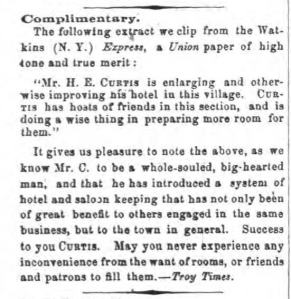 Watkins NY Express Thu 3 Mar 1864 H E Curtis expands hotel congrats