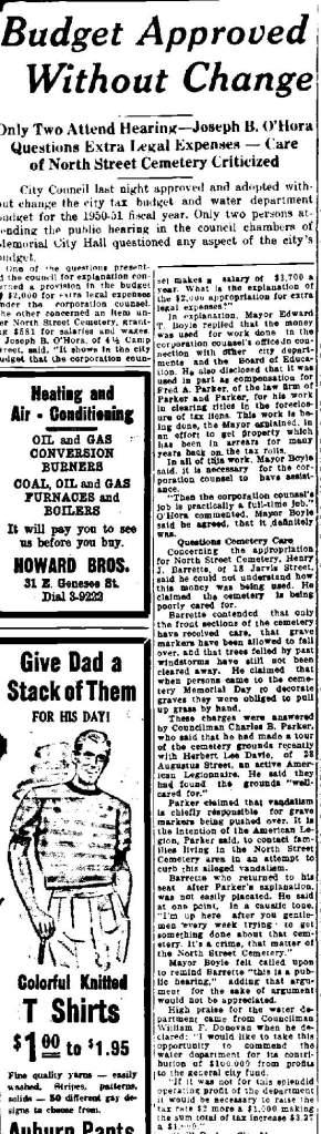 Newspaper Auburn NY Citizen Advertiser 9 June 1950  North St care criticized