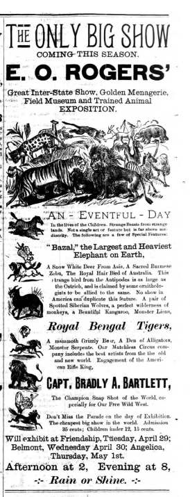 Belmont NY Weekly Dispatch 22 Apr 1890 E O Rogers Circus Ad