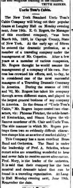 Havana NY Journal 17 Jun 1882 E O Rogers Uncle Toms Cabin