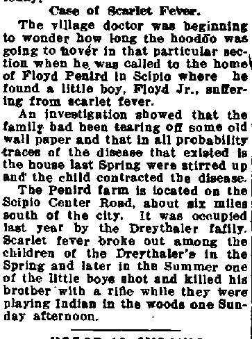 Newspaper Auburn NY Citizen 1915 Scarlet Fever in Scipio