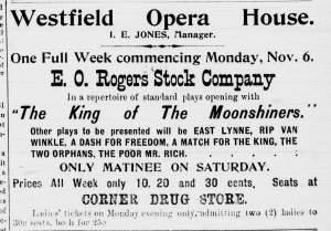Westfield NY 1 Nov 1905 E O Rogers Stock Co Ad