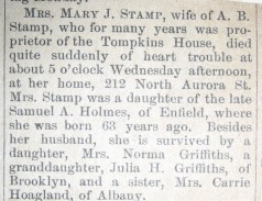 Mary J Holmes Stamp Obituary