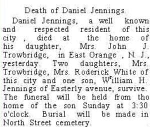 Daniel J Jennings Auburn Newspaper Obit May 11 1906