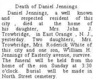 Daniel J Jennings Auburn Newspaper Obit May 11 1906