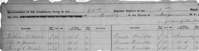 1892 NYS Census  Brooklyn, Kings, New York