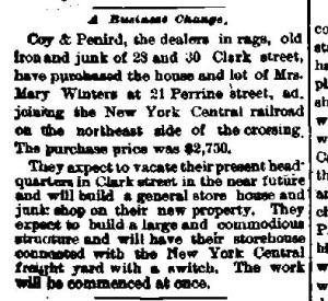 Auburn Weekly Auburnian May 1893 Coy and Penird New Address