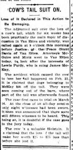 Ithaca NY Daily News 1911 Lewis Purdys Cow Loses Tail