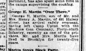 Brooklyn NY Standard Union Wed 14 Aug 1918 George E Martin Over There