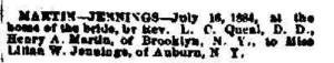 Henry marries Lillian Jennings 1884 news and Democrat