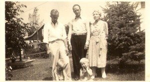 Dad, his Uncle George and Uncle George's Aunt Harriett Jennings White. Two of my brothers play at their feet.  Four generations!