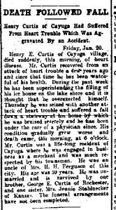 Newspaper Auburn NY Semi-Weekly Journal Tue 24 Jan 1911 Henry Curtis dies after fall