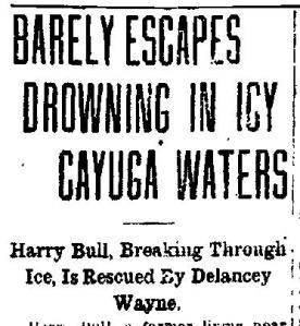 Newspaper Auburn NY Citizen 1923 Barely Escapes Drowning Del Rescues H Bull