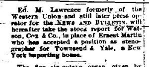 Newspaper Auburn NY News & Bulletin May 1883  Ernest Martin takes a NYC position