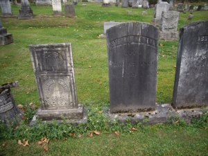 Samuel Smith, Achsah Smith Newton and Stephen Newton monuments.  Evergreen Cemetery, Cazenovia, New York