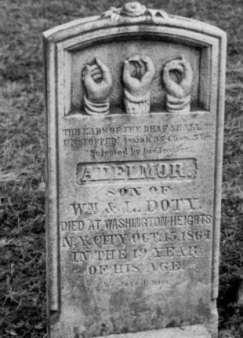 Adelmor Doty Monument.  Throopsville Cemetery