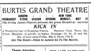 Genoia NY Tribune 1919-1922 Burtis Grand Display Ad