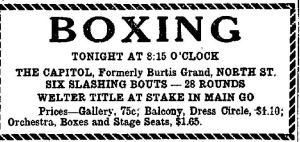 Newspaper Auburn NY Citizen 1926 Boxing at the Capitol formerly Burtis grand