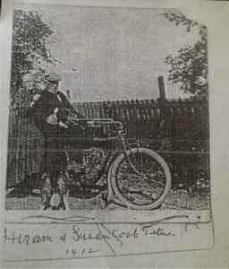Hiram and Susan Cook Titus 1912 with Indian motorbike