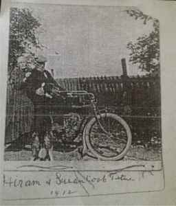 Hiram and Susan Cook Titus 1912 with Indian motorbike