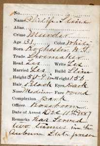 Philip Stein Arrest Record December 11, 1887