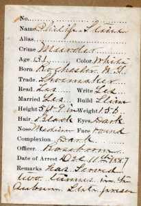 Philip Stein Arrest Record December 11, 1887