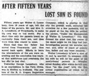 North Tonawanda NY Evening News 6 Oct 1905 Grayscale Walter Lounsbury gone 15years with E O Rogers