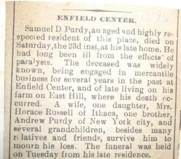 Samuel D Purdy obit 1898