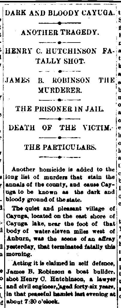 Newspaper Auburn NY Evening Auburnian 1878 - 0690 Killing of Henry C Hutchinson Dark and Bloody Cayuga
