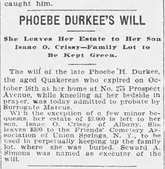 Buffalo Times NY 1 Nov 1898 p 4 Will of Phoebe Durkee